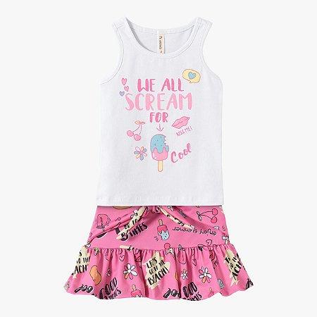 Conjunto infantil feminino com saia
