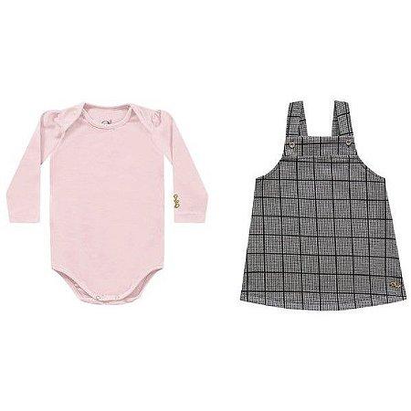Conjunto bebê body rosa e salopete