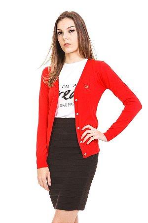 Cardigan tricot decote V vermelho