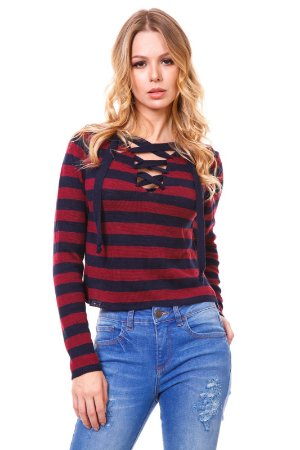 Blusa tricot listrada cherry
