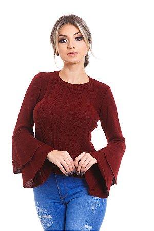Blusa tricot manga babados Marsala