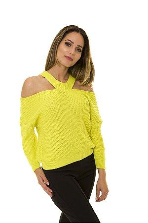 Blusa Tricot Decote V Neon