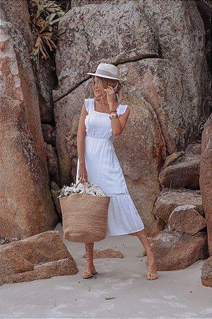 Vestido Midi Lastéx Branco