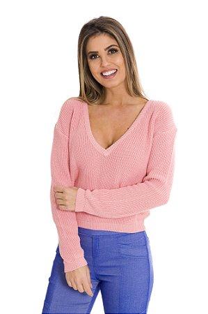 Blusa tricot decote profundo Rosa