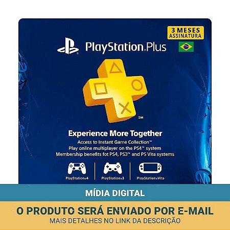 Cartão PSN Plus Assinatura 3 Meses Brasileira - Sony