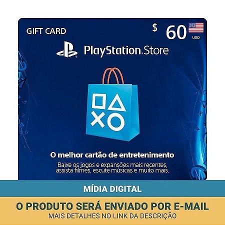 Cartão Presente $60 (dólares) PSN Americana - Sony