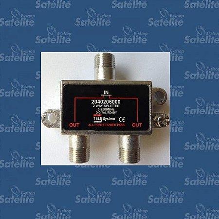 DIVISOR 1X2 CATV 5 - 2500 MHZ TELE SYSTEM
