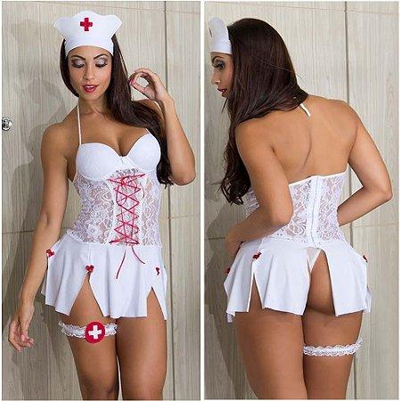 Fantasia sensual espartilho enfermeira sexy emergência médica