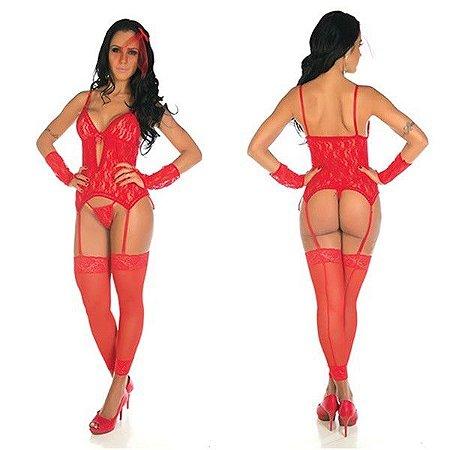 Body noiva cinta liga com meias 7/8 - cor vermelha