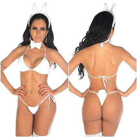 Fantasia sensual coelha coelhinha pelúcia