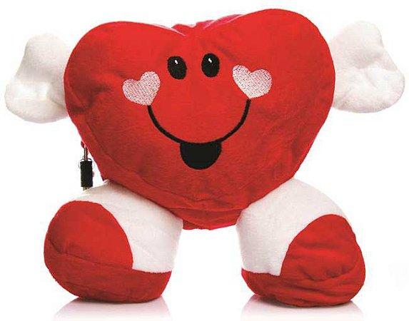 Coração em pelúcia com compartimento secreto