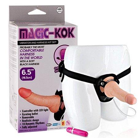 Cinta com pênis 20cm 10 velocidades e reforço no quadril - magic kok harness vibrator