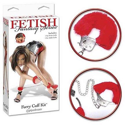 Kit bondage com tornozeleira. algemas e venda - red furry cuff kit