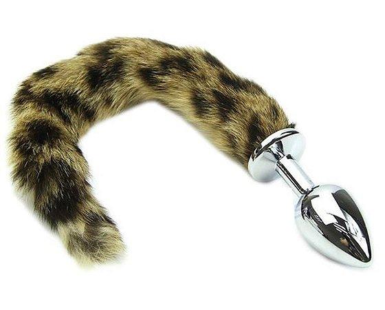 Plug anal rabo de raposa (plug  pequeno 7.5 x 2.8 cm - cor prata) - cosplay