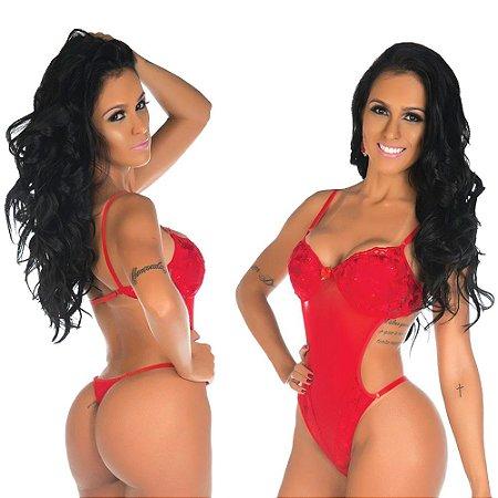 Body gostosa tulle bojo estruturado  vermelha