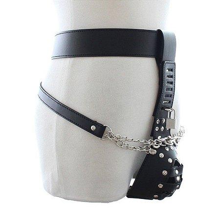 Cinto de castidade masculina em couro sintético com cadeado
