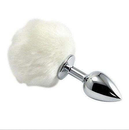 Plug anal em metal pompom branco coelho - médio