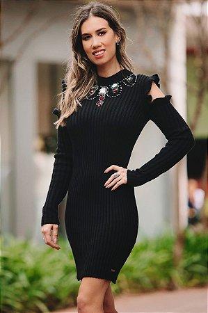 OUTLET | Vestido Gola Bordada Ombro