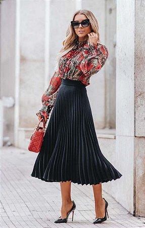 URBAN STYLE | Saia Plissada Midi Black tricot leve