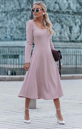 L'AMOUR COLLECTION | Vestido Midi Mairie Rose Canelado
