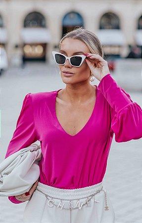 L'AMOUR COLLECTION   Blusa René Punho largo Decote V Pink
