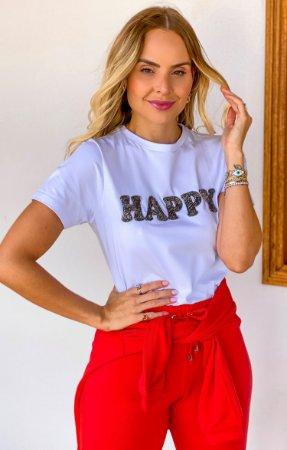 T-shirt Happy Bordada | L'AMOUR COLLECTION