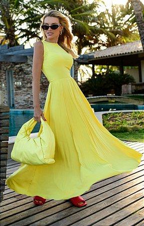 Vestido Lorri Midi Amarelo | RIVIERA FRANCESA
