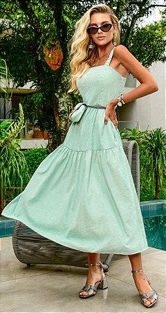 Vestido Midi Adeline Verde   RIVIERA FRANCESA