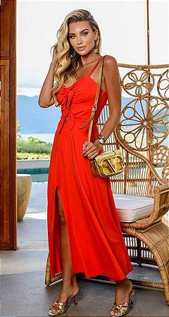 Vestido Anelise Laço Frontal Coral | RIVIERA FRANCESA