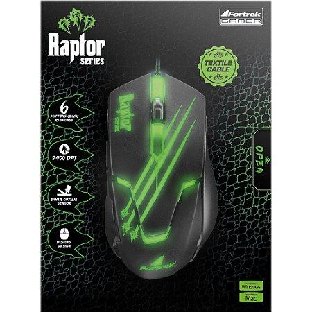 Mouse Gamer Fortrek Raptor - OM-801 Preto e Verde