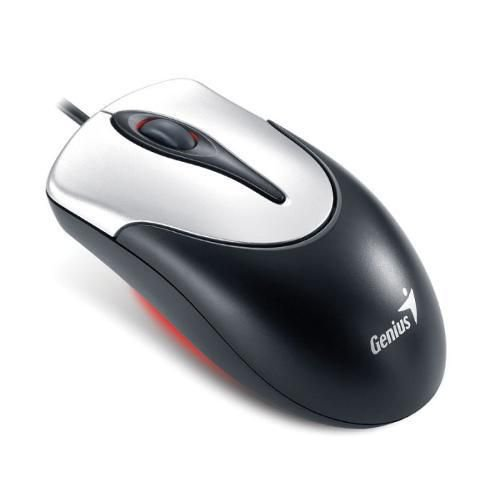 Mouse Genius Wired Ns-100 Preto Com Prata Usb