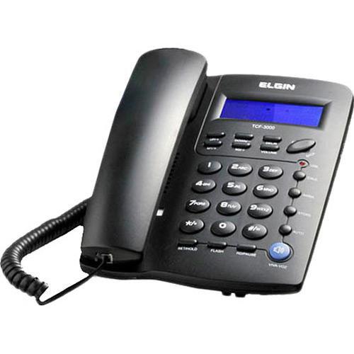 Telefone c/ Fio c/ Identificador de Chamadas, Viva-Voz e Bloqueador - TCF 3000 Preto - Elgin
