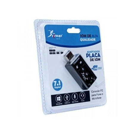 Placa de Som USB 7.1 Canais virtual EXBOM USON-10