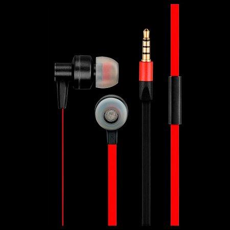 Fone de Ouvido Metal E Silicone Pulse Preto-Vermelho PH154