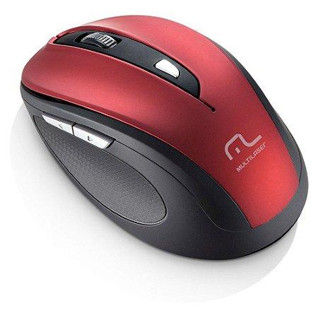 Mouse Sem Fio Multilaser 2.4 Ghz Comfort 6 Botoes Vermelho Metalizado e Preto Usb - MO239