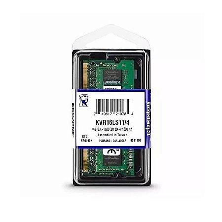 Memória para notebook 4gb DDR3 1600mhz Kingston KVR16LS11/4