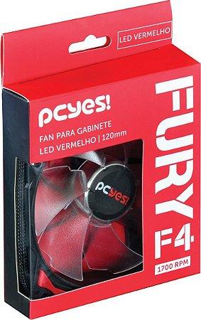 Cooler Fan Para Gabinete Fury F4 120mm Led Vermelho - Pcyes