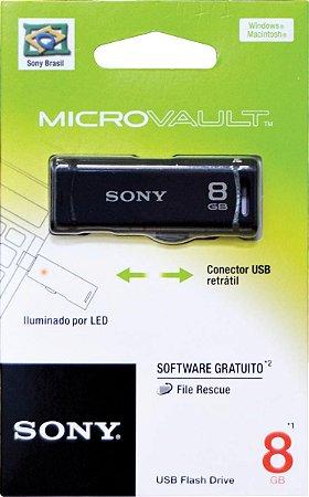 Pen Drive Sony Retrátil Preto 8GB USM8GR