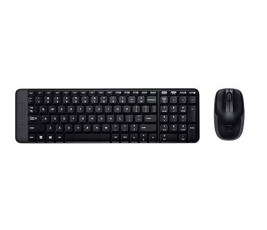 Kit Teclado e Mouse Logitech MK220 Wireless Preto