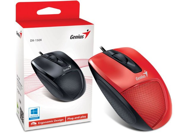 Mouse Genius DX-150X Ergonomico Usb Vermelho
