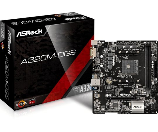 Placa Mãe Asrock AMD A320M-DGS Socket AM4 Chipset AMD A320