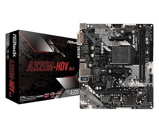 Placa Mãe Asrock AMD A320M-HDV R4.0 Socket AM4 Chipset AMD A320