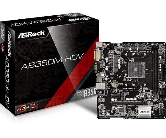 Placa Mãe Asrock (AM4) AB350M-HDV R3.0 VGA/DVI/HDMI