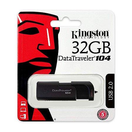 Pendrive Kingston DT104 32GB USB 3.0/2.0 Preto