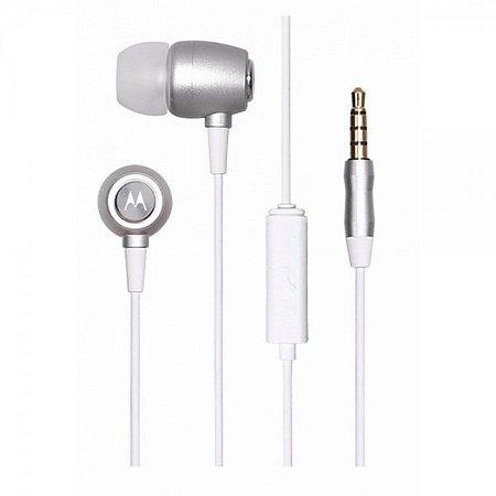 Fone de Ouvido Motorola Earbuds SH009 Com microfone - Prata