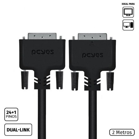 Cabo DVI-D 24+1 Dual Link Macho 2 Metros - Pcyes - PDDL-2