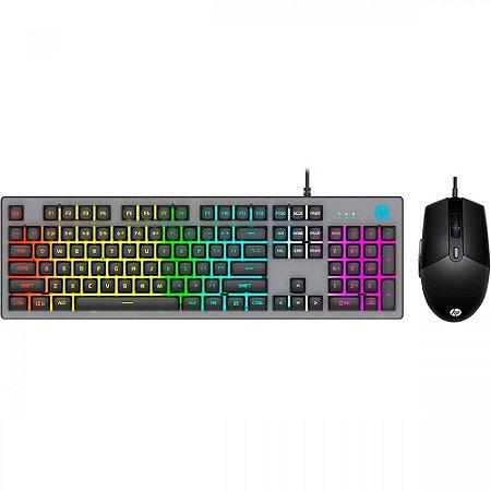 Kit Teclado e Mouse USB Gamer - HP KM300F Preto
