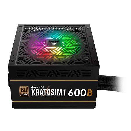 Fonte ATX 600W Real RGB 80 Plus Gamdias Kratos - AD-X600ZZZ