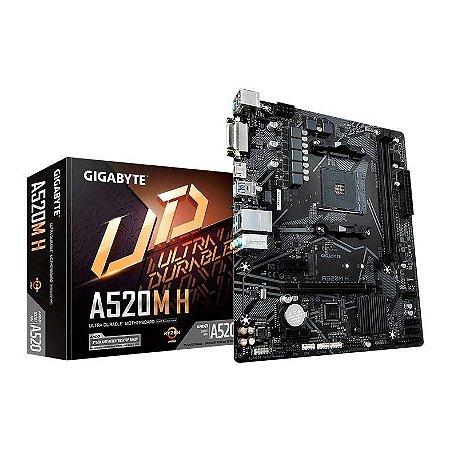 Placa Mãe Gigabyte AMD A520M-H Socket AM4 Chipset AMD A520