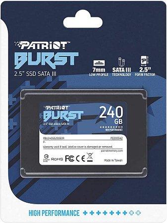 "HD SSD 240gb Patriot Burst SATA 3 - 2.5"" PBU240GS25SSDR"